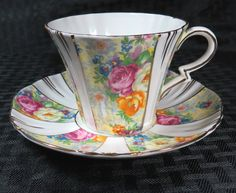 Royal Albert Crown China Rosetime Chintz Cup and Saucer Set White Red Yellow 1 | eBay