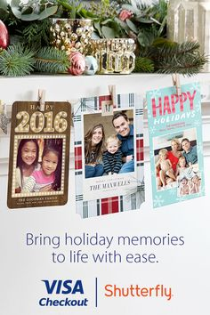 Pay with Visa Checkout on Shutterfly.com and get $20 off your next Shutterfly order. Offer valid while supplies last. Limit 1 per customer. Redeem w/ code for future purchase. Code valid until 1/25/16. Terms and conditions apply. Visa. Everywhere You Want To Be.