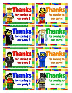 Printbale LEGO Thank You Party Tags/ Favor Labels LEGO Movie Characters