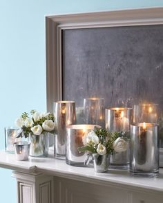 """Instant Antique Candleholders ... aka faux """"mercury glass"""" I like the suggestion if you want to use flowers, put the flowers in a smaller vase and place inside the decorated vase ... also the mirror is a great idea too ... kd"""