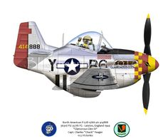 "North American P-51D -15NA s/n 414888, 363rd FS, 357th FG, Leiston, England 1944 ""Glamorous Glen III"" Capt. Charles ""Chuck"" Yeager 11.5 Victories    Blackheart Art  Aircraft caricatures by: Pat Cherry"