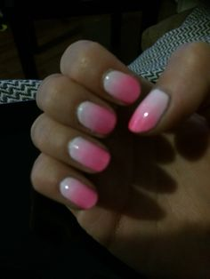 Pink and white ombré gelish.