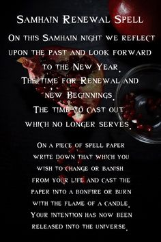 Samhain Renewal Spell (my family does this every year but we use yew branches instead of paper sending our intention into it before burning)