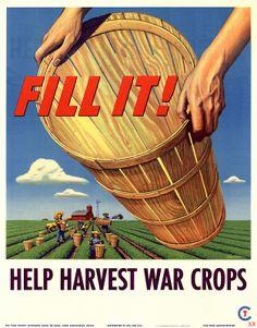 Help harvest war crops! vintage 1940s WW2 propaganda posters