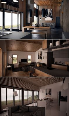 House Plans in Modern Architecture. Japanese Interior Design, Contemporary Interior, Condo Design, House Design, Japanese Modern House, Home Technology, Dark Interiors, Simple House, House Floor Plans