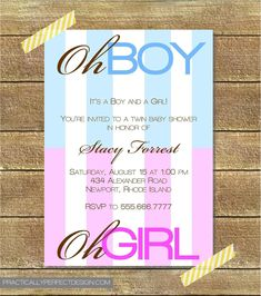 Twin Baby Shower Invitation, Boy AND Girl.