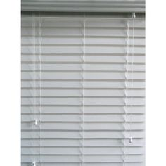 Shop allen + roth 32-in W x 64-in L White Faux Wood 2-1/2-in Slat Room Darkening Horizontal Blinds at Lowes.com