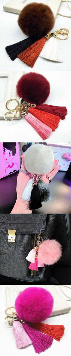 Fashion 1Pc Women Rabbit Fur Cony Hair Ball Pompom Thrice Tassel Keychain Handbag Key Ring