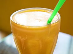 Pumpkin Smoothie Recipe Beverages, Breakfast and Brunch with butter, skim milk, ice, nonfat greek yogurt, vanilla extract, pumpkin pie spice, brown sugar