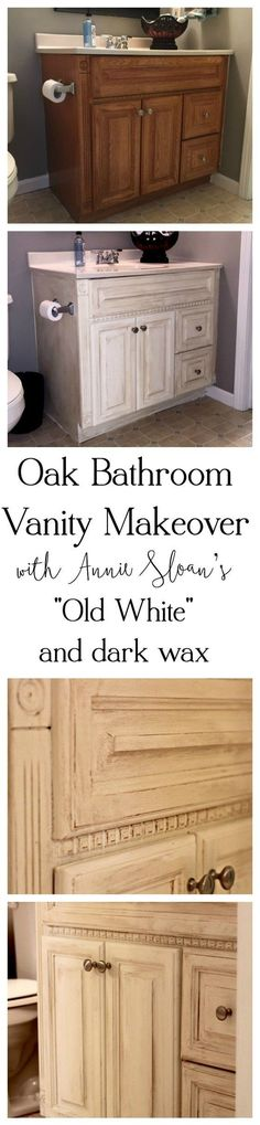 Oak Bathroom Vanity Makeover with Annie Sloan's Old White and dark wax:Another oak vanity bites the dust! Check out this beautiful, simple, and inexpensive makeover to this blogger's basement guest room bathroom vanity!
