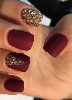 Matte nails, red nails, glitter nails, gold nails, fall nails, nail art, nail design https://www.facebook.com/shorthaircutstyles/posts/1760997800857326