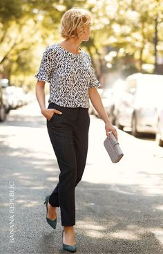 Image result for banana republic printed black white pants outfit