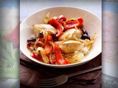 Prepara cena para uno-Pollo a la naranja con pimiento y cebolla