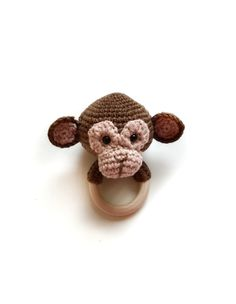 Excited to share this item from my shop: MONKEY RATTLE baby teething toy, hippo elephant panda lion zebra tiger teether Crochet Panda, Crochet Lion, Crochet Elephant, Safari Animals, Plush Animals, Teething Toys, Baby Teething, Organic Baby Toys, Wooden Teething Ring