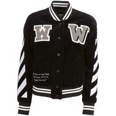 Varsity Bomber (3 695 PLN) ❤ liked on Polyvore featuring outerwear, jackets, black, cotton bomber jacket, off white jacket, long sleeve jacket, bomber jacket and cotton jacket