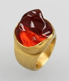 21 kt gold solid designer ring with fire opal