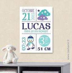 Cadeau de naissance personnalisé original, stats de naissance, décoration murale chambre bébé enfant garçon - Fichier Imprimable - n°81