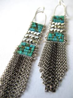 turquoise and silver prayer blanket earrings