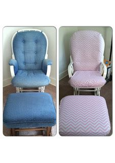 Glider refinish for baby's nursery! step by step DIY tutorial! This is an easy no sew project!
