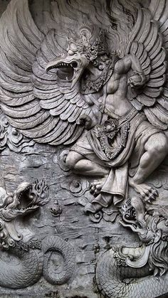 The Garuda is a large bird-like creature, or humanoid bird that appears in both Hinduism and Buddhism. Garuda is the mount (vahana) of the Lord Vishnu. Statues, Indonesian Art, Art Sculpture, Baphomet, Buddhist Art, Gods And Goddesses, Ancient Art, Mythical Creatures, Indian Art