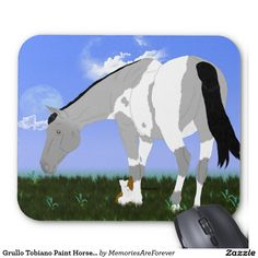 Grullo Tobiano Paint Horse and Puppy Mouse Pad