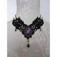 Lace Choker Necklace Collier Collar Purple Victorian Gothic Burlesque ($39) ❤ liked on Polyvore featuring jewelry, necklaces, lace collar necklace, collar necklace, chain necklace, lace choker necklace and antique necklaces