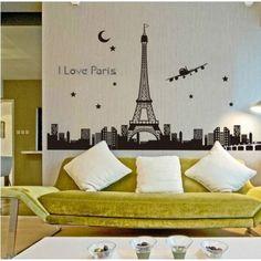 Vinilo decorativo luminoso i love Paris - $ 34.900