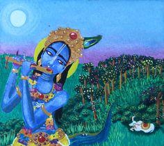 Fine Art Print Originalgrafiken, Gemälde, Krishna, Kuh, Vollmond, Aquarell, Vrndavan, Indian, Hindu, Hare Krishna