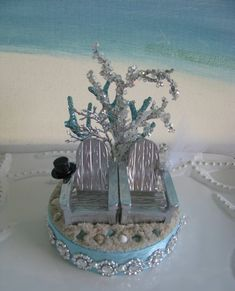 Silver Adirondack Chairs~~Beach Wedding Cake Topper