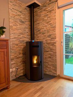 Fireplace Shelves, Stove Fireplace, Modern Fireplace, Wood Stove Decor, Corner Wood Stove, Modern Wood Burning Stoves, Log Burner Living Room, Beautiful House Plans, Pellet Stove