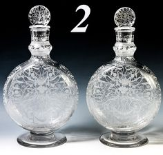 Superb Baccarat French Decanter Pair, Michelangelo Engraved Pattern, from antiques-uncommon-treasure on Ruby Lane