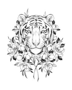 Large Tattoos, Cute Tattoos, Tiger Sketch, Flash Design, Plant Tattoo, Tiger Tattoo, Tattoo Stencils, Colouring Pages, Angel Tattoo Men