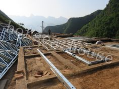 Horsea Integrated House Technology Co. Steel Frame House, Home Technology, Steel Structure, Steel Metal, Railroad Tracks, Studs, Villa, Mountain, House Design