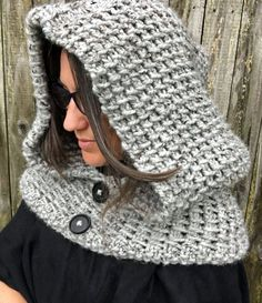 Knitting Pattern for 2 Row Repeat Dawn Hooded Cowl - A simple two round repeat creates a beautiful and interesting woven texture for this hood. Using super bulky yarn, the project works up super fast! tba super bulky hood quick cowl
