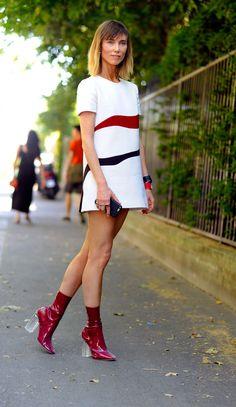 Anya Ziourova, arrival for Dior Haute Couture on boulevard des Invalides Paris , PFW FW15.