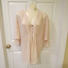 BLACK FRIDAY SALE GOING ON NOW!  & WITH MAKE AN OFFER OPTION!!  H & M Sheer Plunging Blouse Creams Size 12 Oversized/Sissy #HM #Blouse