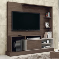 Conjunto para Sala de Estar com Estante Home Theater Sintonia e Mesa de Centro Malbec/Preto Tex - Henn Tv Unit Furniture, Interior Wall Design, Tv Wall Design, Tv Unit Furniture Design, Cabinet Design, Tv Wall Decor, Furniture Design, Wall Unit