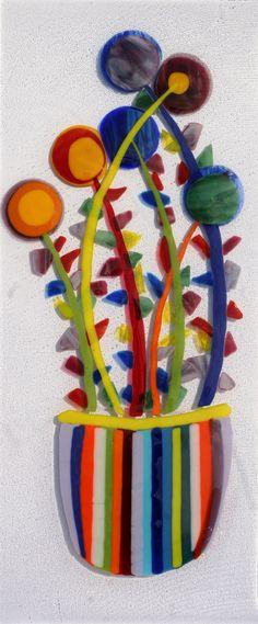 Bloemen in vaas - Glaskunst objecten & glazen grafmonumenten - www.glasfragmenten.nl