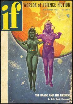 """Découvrez une sélection de couvertures rétro de la science-fiction des années 50 – 60, issues du magazine américain de science-fiction de l'époque, """"IF Science Fiction"""""""