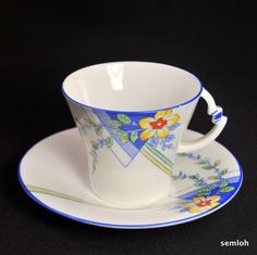 Royal Albert Crown Footed Cup Saucer Art Deco Blue 1934 1935 Flowers Lines | eBay