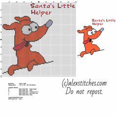 Santa's little helper dog cartoon The Simpsons character free cross stitch pattern download