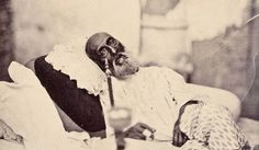 Delhi's last Mughal emperor Bahadur Shah II while being held captive by the British, the only know photograph of a Mughal Emperor, India. After the death of his father in 1837 he was placed on the throne at little over 6 years of age. Like his father he was a weak ruler due to the British domination over India at the time. During the War of Independence in 1857 the freedom fighters nominated Bahadur Shah as their Commander-in-Chief but  the strong and organized  British forces defeated them.