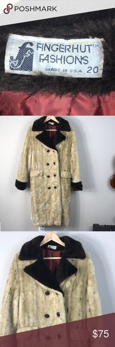 """VTG 70s Faux Fur Double Breasted Brown Fuzzy Coat Vintage 70s Fingerhut Fashions brown and cream faux fur Long double breasted coat with buttons down the front, contrasting collar and cuffs trim, and pretty dark red lining. One mark near top button shown in pics, otherwise great vintage condition.. This is seriously the classiest pimp coat I've ever come across. Tag says size 20, fits like a modern 10 or L. I'm 5'4"""" and it's a little too big so I drape it off the shoulder Kardashian style…"""