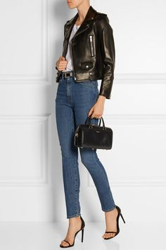 Black leather (Calf) Two top handles, detachable shoulder strap Designer stamp, gold hardware, feet Internal patch pocket Fully lined in suede  Two-way zip fastening along top Comes with dust bag