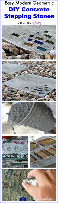 OMG, this is totally the EASIEST way to make stepping stones for your garden! And you can add some fun glass for a bit of a modern flare.
