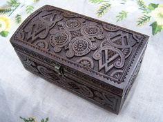 Jewelry box Wooden box Ring box Carved wood box by HappyFlying