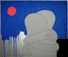 """andrea mattiello """"pink moon""""   acrilico,collage,smalto e pastello; cm 60x50; 2011"""