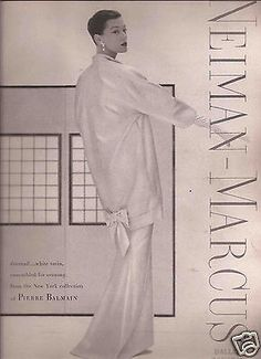50's  Neiman Marcus Pierre Balmain Fashion Ad - Barbara Mullen 1955 in Collectibles, Advertising, Clothing, Shoes & Accessories, Clothing, 1950-1979   eBay