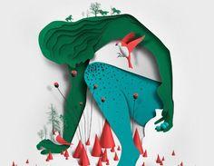 papieren-illustraties-ojala  Illustrator Eiko Ojala weet op een fantastische wijze diepte, structuur en zelfs schaduwen aan te brengen in deze papieren illustraties.