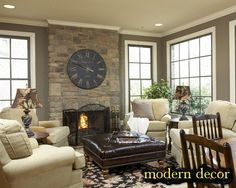small Family Room ideas 2013 ... Love the clock over the fireplace, beautiful colors, and windows